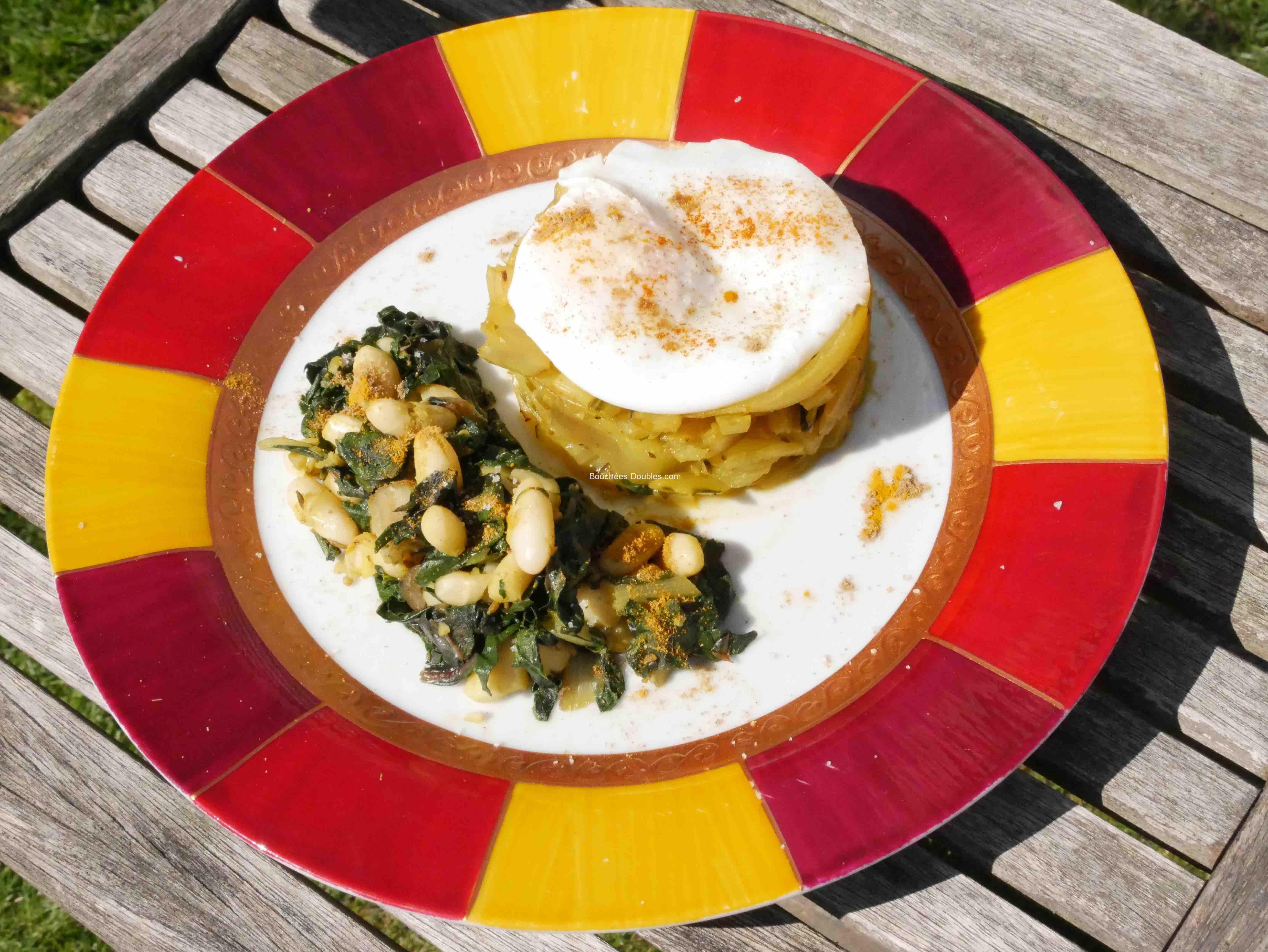 Dressage assiette des blettes aux epices avec un oeuf poche