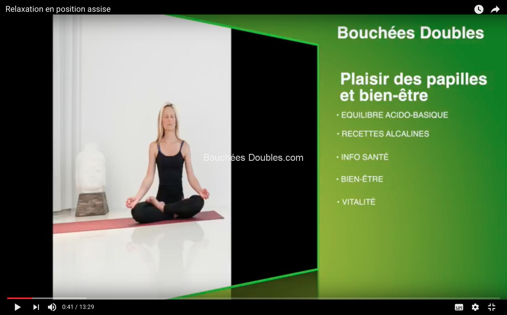 Respiration, relaxation, concentration, 2 position assise